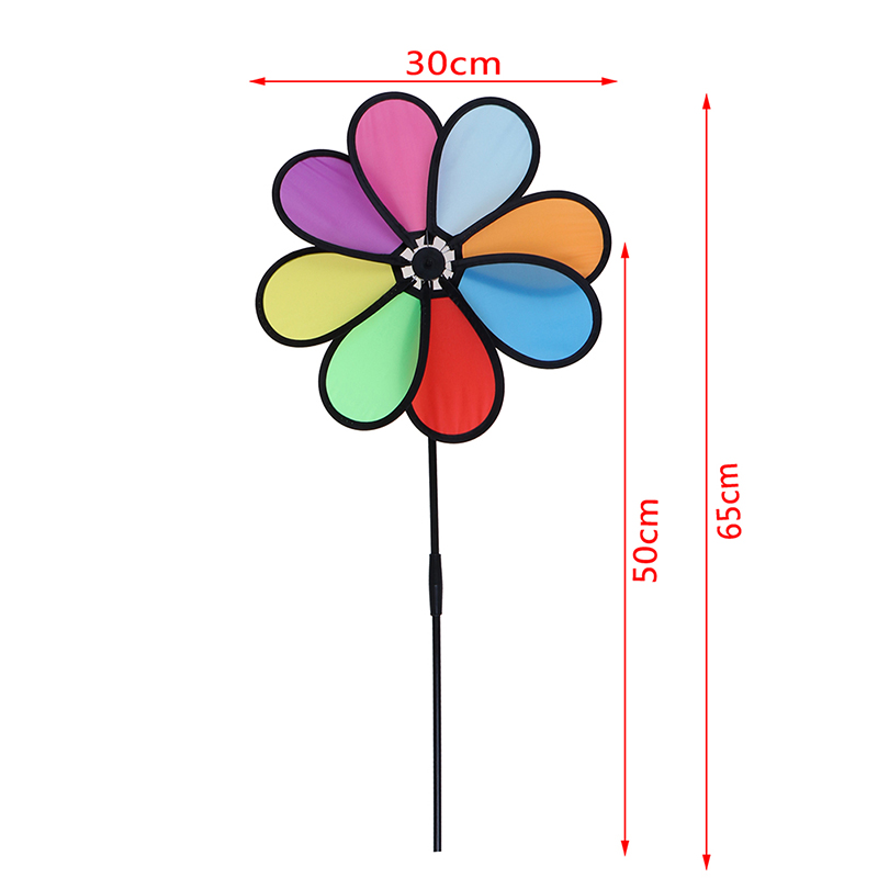 Jettingbuy Jettingbuy Colorful Rainbow Dazy Flower Spinner Wind Windmill Garden Yard Outdoor Decor