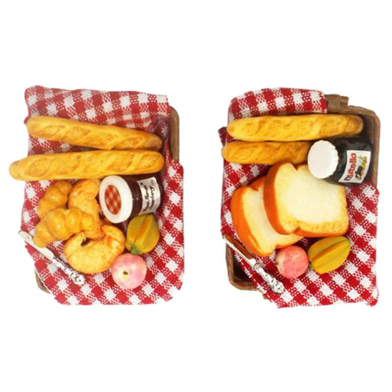 1:12 Dollhouse Miniature Breakfast Set Bread Basket Doll House Food AccessorILI
