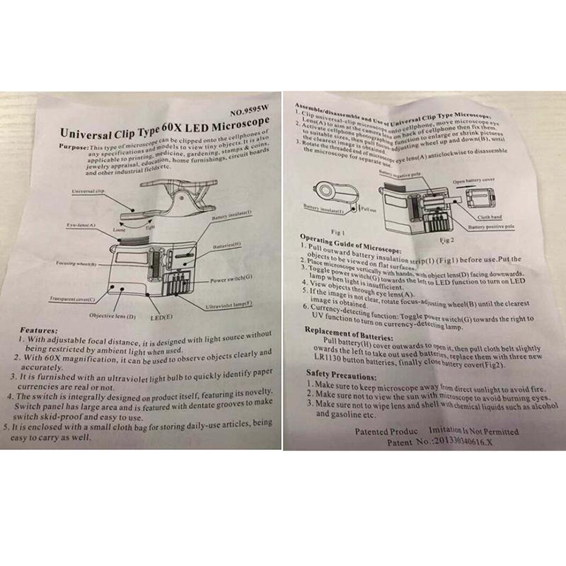 Bảng giá GUDE001 EVAN 1 60X Di Động Điện Thoại Kính Hiển Vi Ống Kính Zoom Micro Kẹp Camera Có Đèn Led Phong Vũ